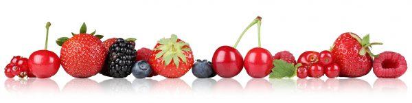 Beeren Früchte Obst Erdbeeren Himbeeren Blaubeeren Kirschen in einer Reihe